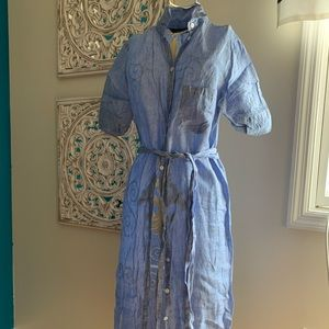 Maxi shirt dress with tie